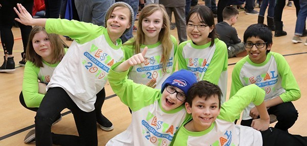 Vestal Middle School Odyssey of the Mind team (showing four girls and three boys) after their regional win on March 9. 2019.