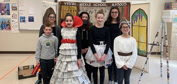 Vestal Middle School Odyssey of the Mind team in costume for their problem, on March 9, 2019.