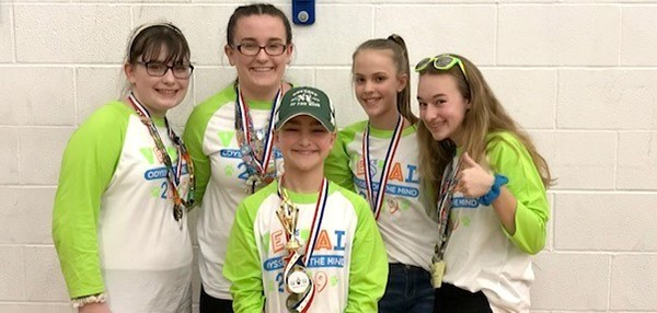 Vestal Middle School's second Odyssey of the Mind team with first-place regional awards on March 9, 2019. (Four girls and one boy.)