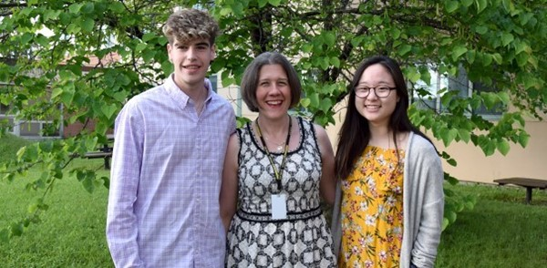 From the District Council Dinner, the Vestal High School Student Government president and secretary with their group's honoree, their teacher / advisor Mrs. Restuccia.