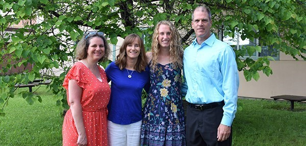 From the District Council Dinner, the District Council President with the Vestal High School scholarship winner and her parents.
